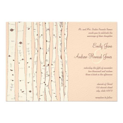 Invitaciones pelirrojas del boda del árbol de abed