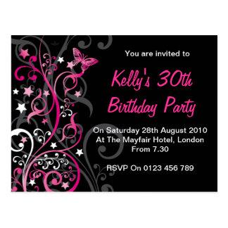 Invitaciones personalizadas del cumpleaños tarjeta postal