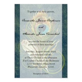 """Invitaciones profundas del boda de la pluma del invitación 5"""" x 7"""""""