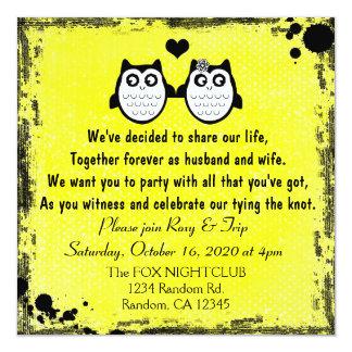 Invitaciones punkyes del boda del búho amarillo de invitación 13,3 cm x 13,3cm