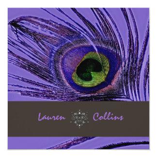 Invitaciones/púrpura de la pluma del pavo real de comunicados