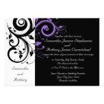 Invitaciones púrpuras blancas negras del boda del  anuncios personalizados