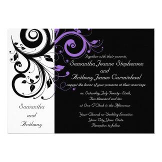 Invitaciones púrpuras blancas negras del boda del