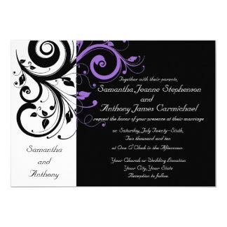 """Invitaciones púrpuras blancas negras del boda del invitación 5"""" x 7"""""""