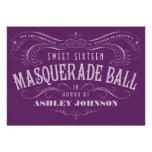 Invitaciones púrpuras de la bola de mascarada del  invitación