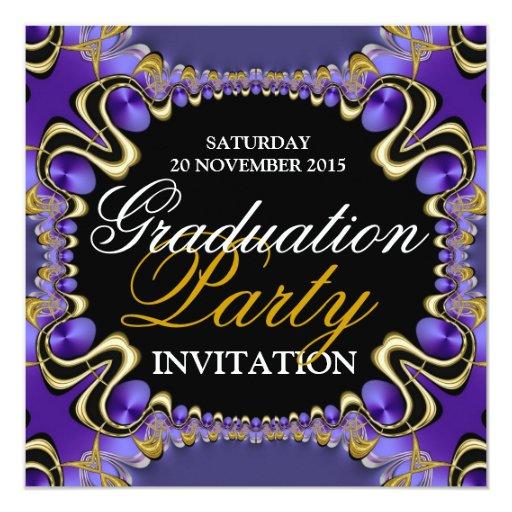 Invitaciones púrpuras de la fiesta de graduación comunicados personales