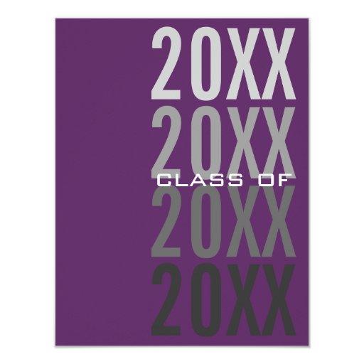 """invitaciones púrpuras de la fiesta de graduación invitación 4.25"""" x 5.5"""""""
