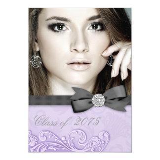 """Invitaciones púrpuras de la graduación de la foto invitación 5"""" x 7"""""""