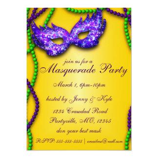 """Invitaciones púrpuras de la máscara del fiesta de invitación 5.5"""" x 7.5"""""""