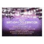 invitaciones púrpuras de la noche y del cumpleaños