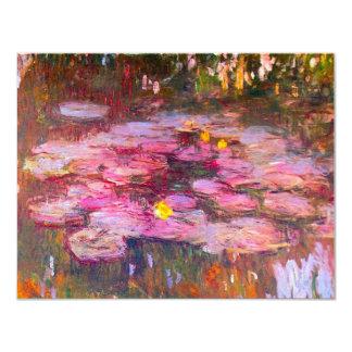 Invitaciones púrpuras de los lirios de agua de invitación 10,8 x 13,9 cm