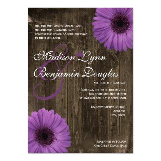 """Invitaciones púrpuras de madera del boda de la invitación 4.5"""" x 6.25"""""""