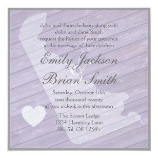 """Invitaciones púrpuras de madera rústicas del boda invitación 5.25"""" x 5.25"""""""