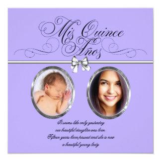 Invitaciones púrpuras de Quinceanera de la foto de Invitaciones Personales