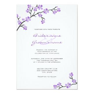 """Invitaciones púrpuras del boda de la flor de invitación 5"""" x 7"""""""