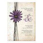 Invitaciones púrpuras del boda de la margarita del invitación 12,7 x 17,8 cm
