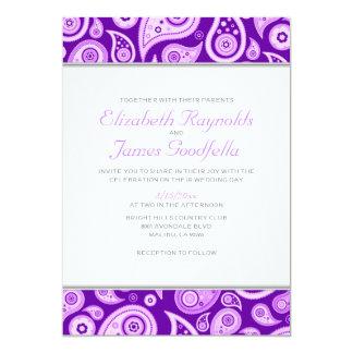 """Invitaciones púrpuras del boda de Paisley Invitación 5"""" X 7"""""""