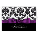 invitaciones púrpuras del boda del damasco felicitación