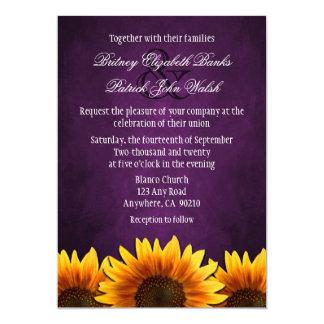 """Invitaciones púrpuras del boda del girasol de la invitación 5"""" x 7"""""""