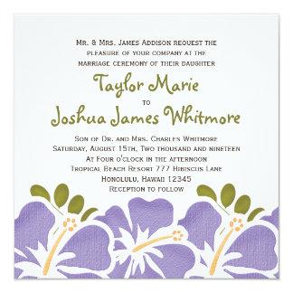 Invitaciones púrpuras del boda del hibisco invitación 13,3 cm x 13,3cm