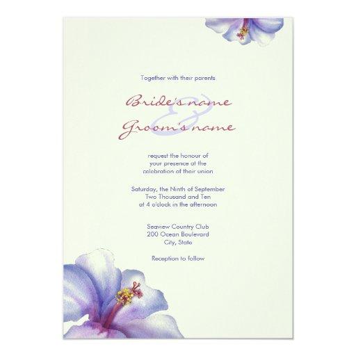 """Invitaciones púrpuras del boda del hibisco de la invitación 5"""" x 7"""""""