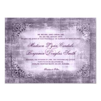 """Invitaciones púrpuras del boda del marco rústico invitación 4.5"""" x 6.25"""""""