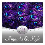 Invitaciones púrpuras del boda del pavo real invitación 13,3 cm x 13,3cm