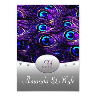 """Invitaciones púrpuras del boda del pavo real 4,5"""" invitación 4.5"""" x 6.25"""""""