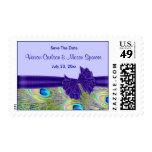 Invitaciones púrpuras del boda del pavo real sello
