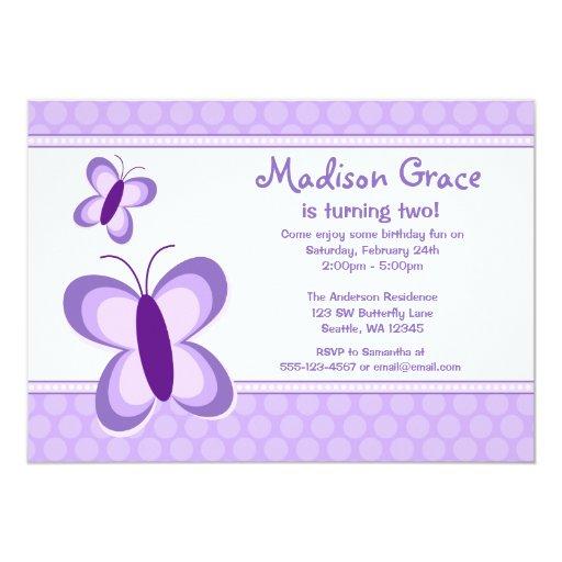 Invitaciones púrpuras del cumpleaños de la invitación 12,7 x 17,8 cm