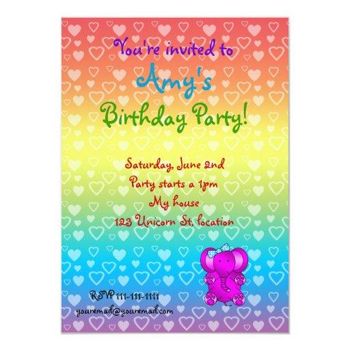 Invitaciones púrpuras del cumpleaños del elefante invitación 11,4 x 15,8 cm