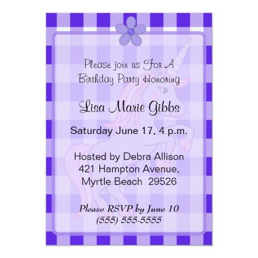 Invitaciones púrpuras del cumpleaños del unicornio invitación 12,7 x 17,8 cm