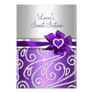 """Invitaciones púrpuras del diamante del arco invitación 5"""" x 7"""""""