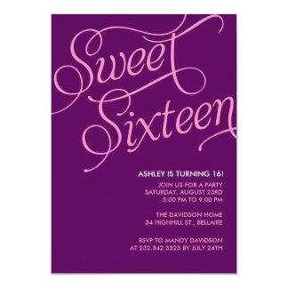 Invitaciones púrpuras del dulce 16 invitacion personal