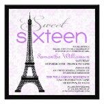 Invitaciones púrpuras del dulce 16 de París Invitacion Personal