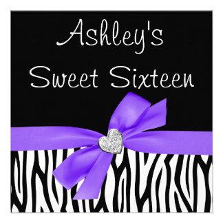 Invitaciones púrpuras del dulce 16 del diamante de invitación personalizada