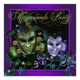 Invitaciones púrpuras del fiesta de la mascarada invitación 13,3 cm x 13,3cm