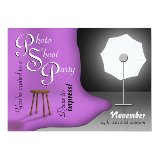 Invitaciones púrpuras del fiesta de Photoshoot Comunicado Personal