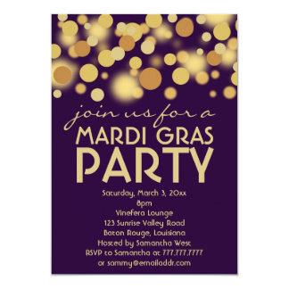 Invitaciones púrpuras del fiesta del carnaval del invitación 12,7 x 17,8 cm