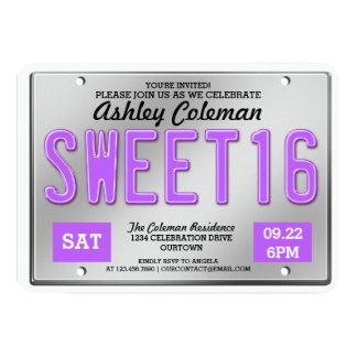 Invitaciones púrpuras del fiesta del dulce 16 de invitación 12,7 x 17,8 cm