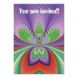 Invitaciones púrpuras del personalizado de la flor comunicados personales