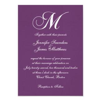 Invitaciones púrpuras elegantes del boda del invitación 12,7 x 17,8 cm