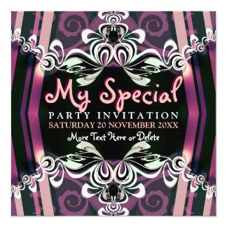 Invitaciones púrpuras exóticas del fiesta del invitacion personalizada