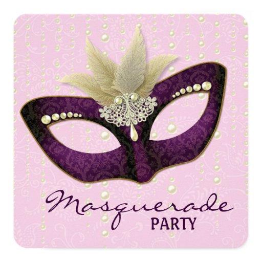 """Invitaciones púrpuras rosadas del fiesta de la invitación 5.25"""" x 5.25"""""""