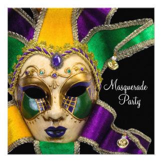 Invitaciones púrpuras verdes del fiesta de la masc invitación