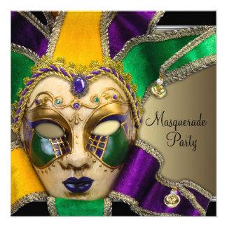 Invitaciones púrpuras verdes del fiesta de la masc anuncios personalizados
