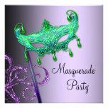 Invitaciones púrpuras verdes del fiesta de la masc invitacion personalizada