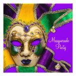 Invitaciones púrpuras verdes del fiesta de la masc comunicados personales