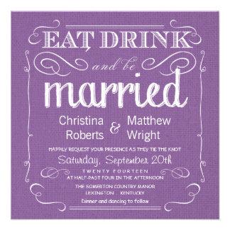 Invitaciones púrpuras violetas del boda de la arpi invitaciones personales
