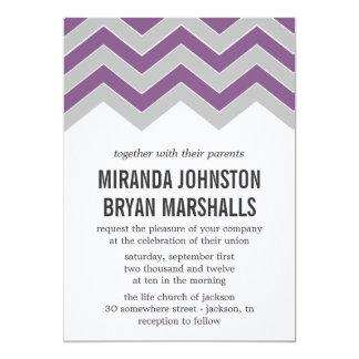 """Invitaciones púrpuras y grises del boda del diseño invitación 5"""" x 7"""""""